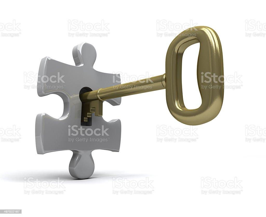 unlocking puzzle stock photo