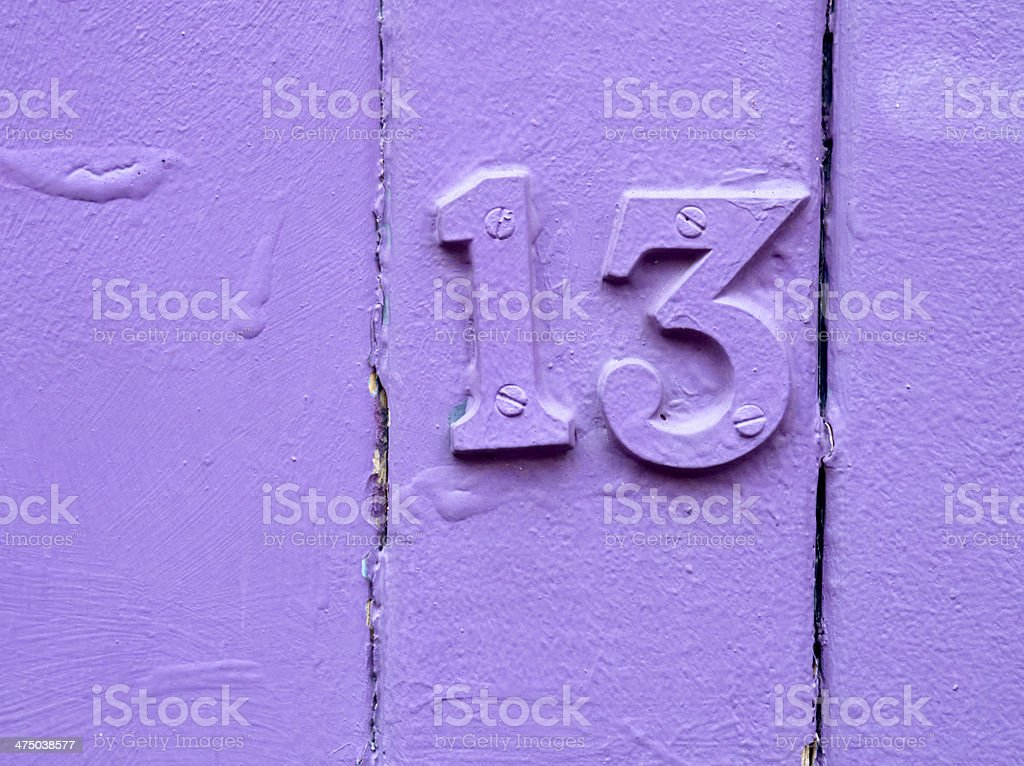 unlucky purple thirteen stock photo