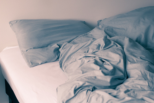 Unmade Bed Stock Photo - Download Image Now