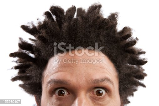 Surprised/ frightened looking  adult with afro hair