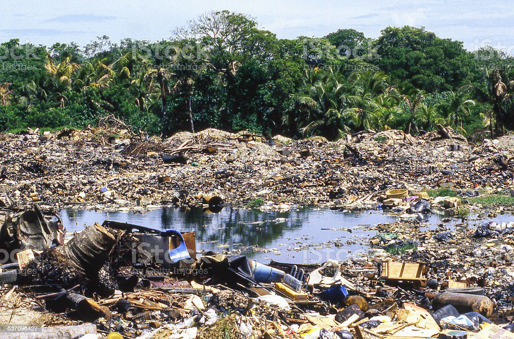 Unmanaged Public Trash Dump Roatan Bay Islands Honduras stock photo