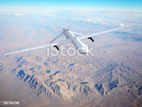 Unmanned Aerial Vehicle (UAV), also known as Unmanned Aircraft System (UAS). Digitally Generated Image with my own photo as background
