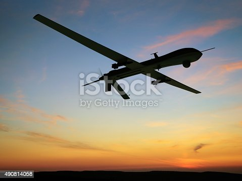 Unmanned Aerial Vehicle (UAV), also known as Unmanned Aircraft System (UAS). Digitally Generated Image isolated on white background
