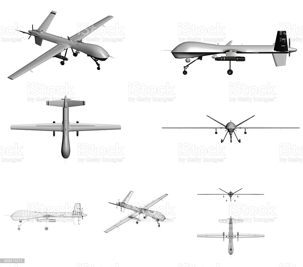 Unmanned Aerial Vehicle (UAV) technical views stock photo