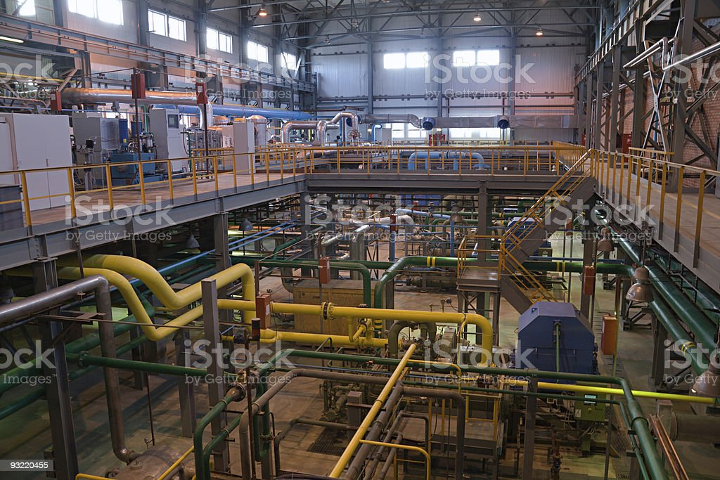 unmanned air separating factory inside view stock photo