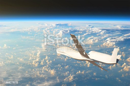 535194869 istock photo Unmanned aircraft flying in the upper atmosphere, the study of the gas shells of the planet Earth. Elements of this image furnished by NASA. 1136827675