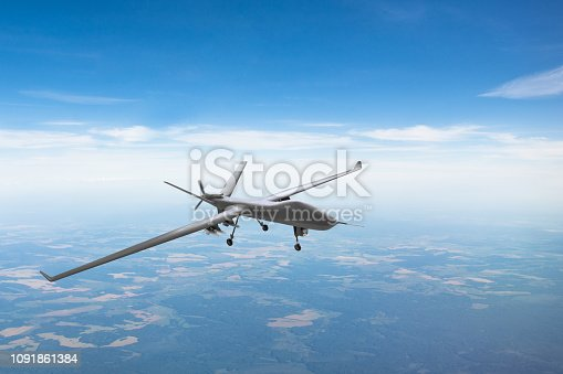 istock Unmanned aircraft patrol air sky at high altitude. 1091861384