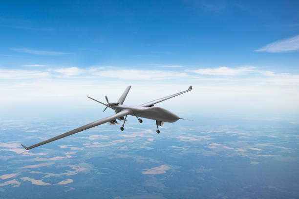 Unmanned aircraft patrol air sky at high altitude. stock photo