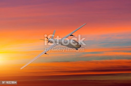 Unmanned Military Aircraft On White Background Sunset Sky