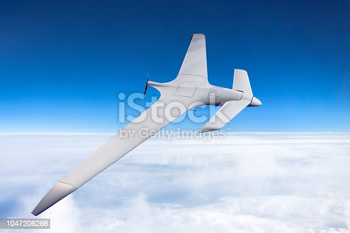 istock Unmanned military drone high speed flight in the sky. 1047206266