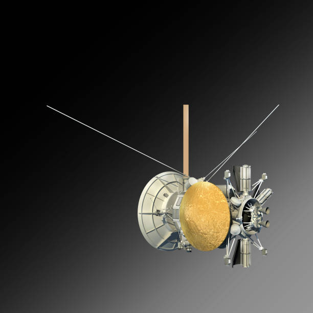 Unmanned spacecraft or satellite orbiter with clipping path stock photo