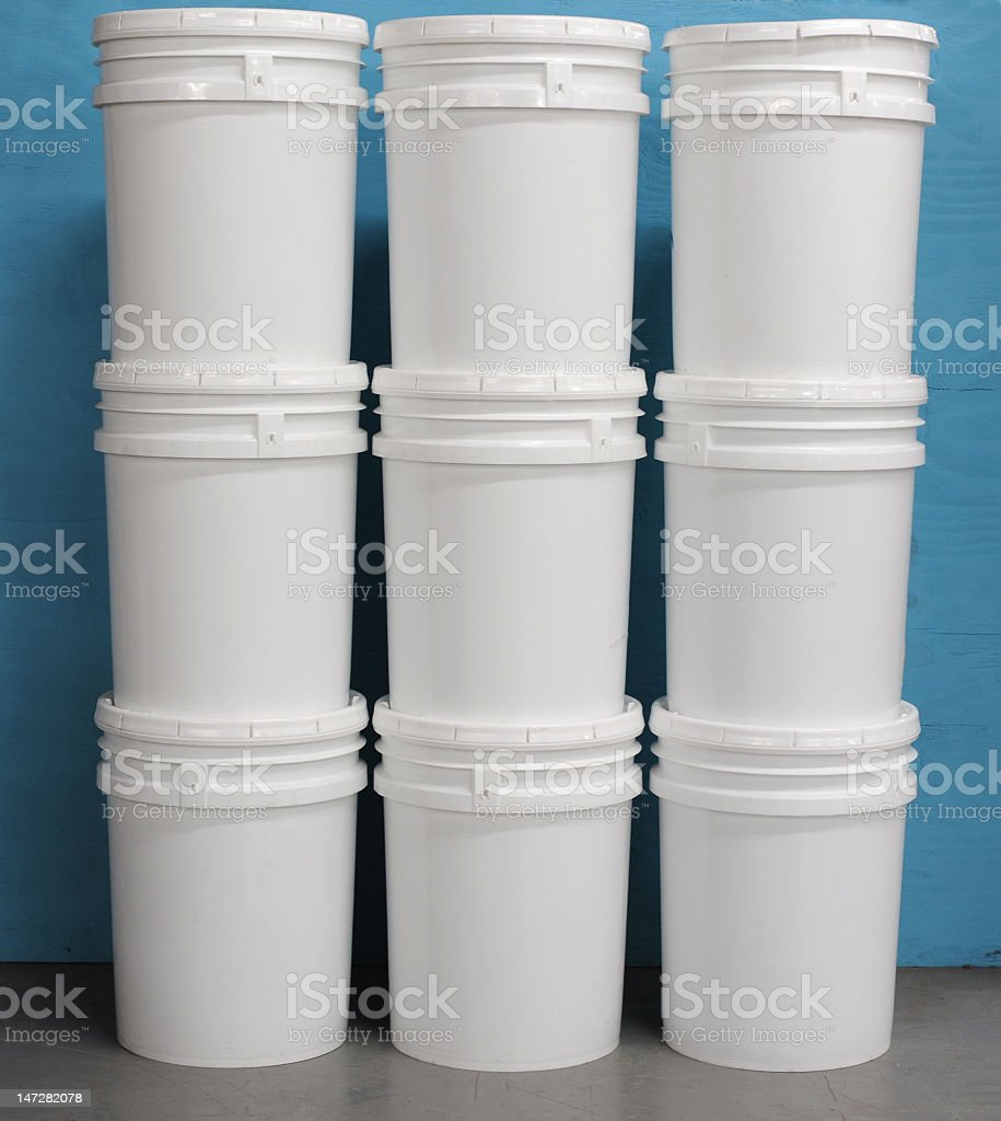 Unmarked buckets stacked stock photo