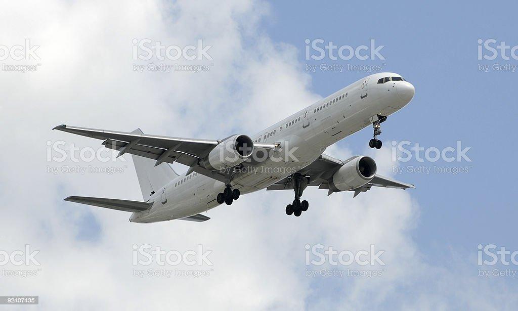 Unmarked white airplane stock photo