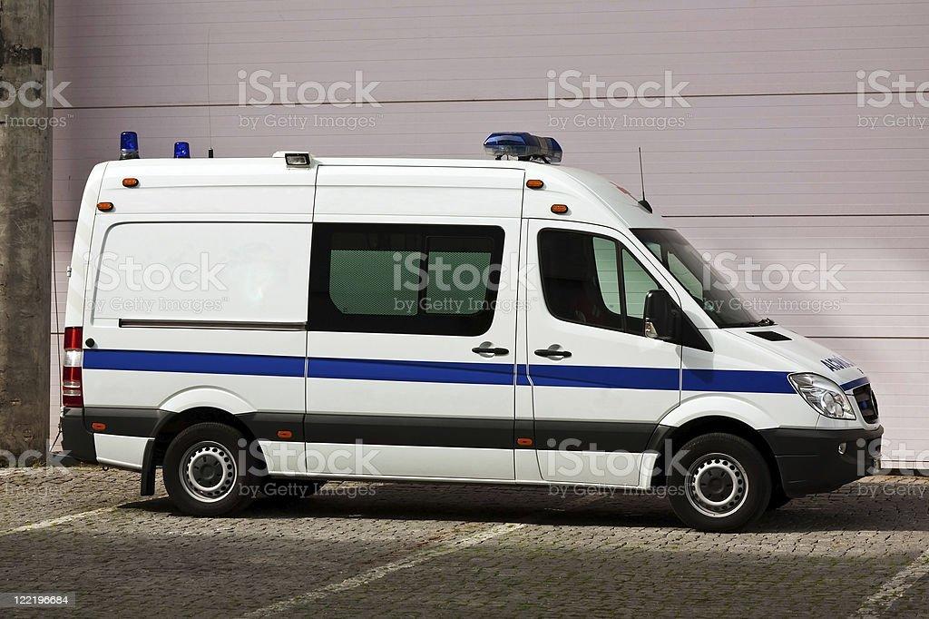 Unmarked white ambulance parked royalty-free stock photo