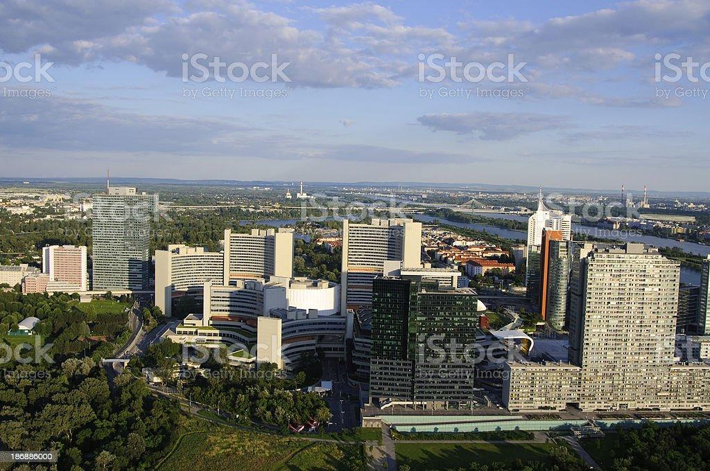 Uno City District - Vienna in evening light stock photo