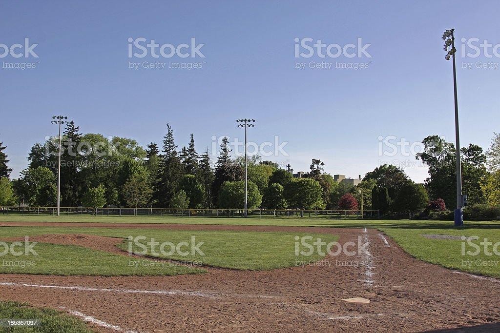 Unoccupied Baseball Diamond royalty-free stock photo