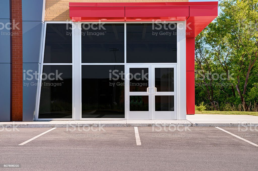 Unoccupied generic store front stock photo