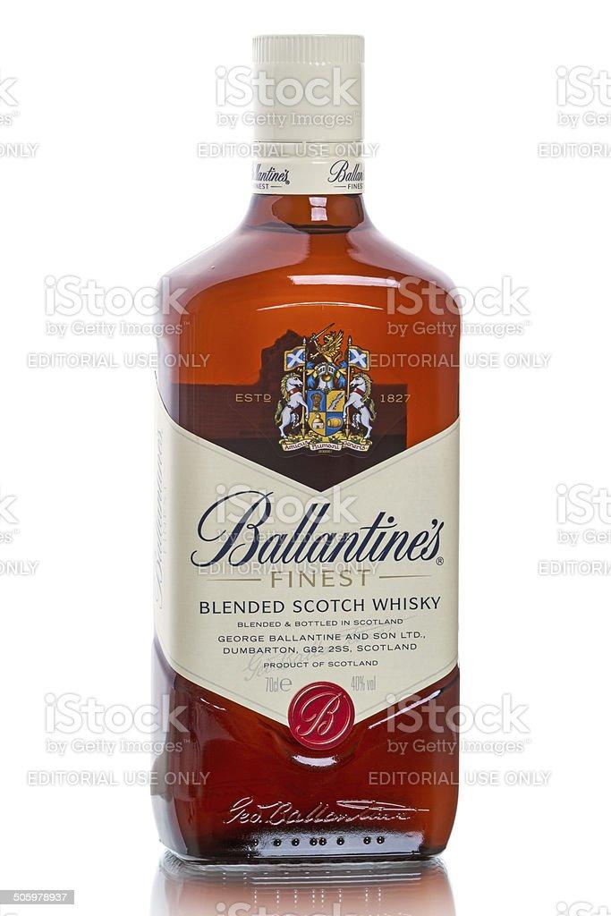 Unopened bottle of Ballantine's  Scotch whiskies stock photo