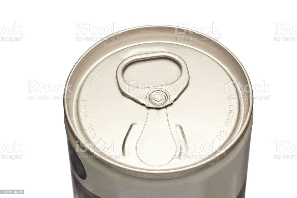 Unopened Vintage Beer Can Top Showing Pull Tab stock photo