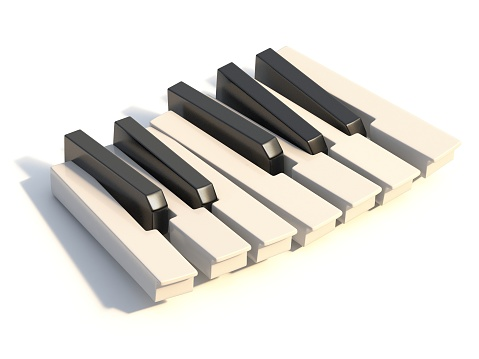 Unordered abstract piano keyboard one octave 3D