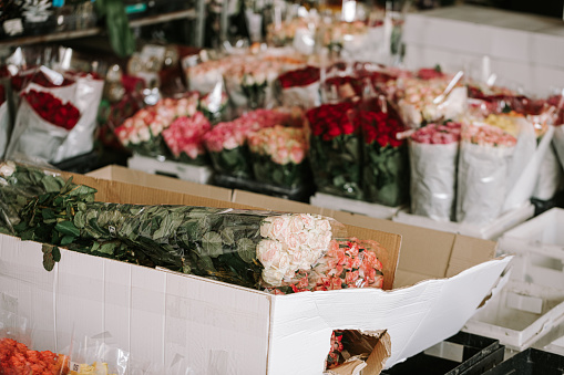 Unpacked bouquet of roses