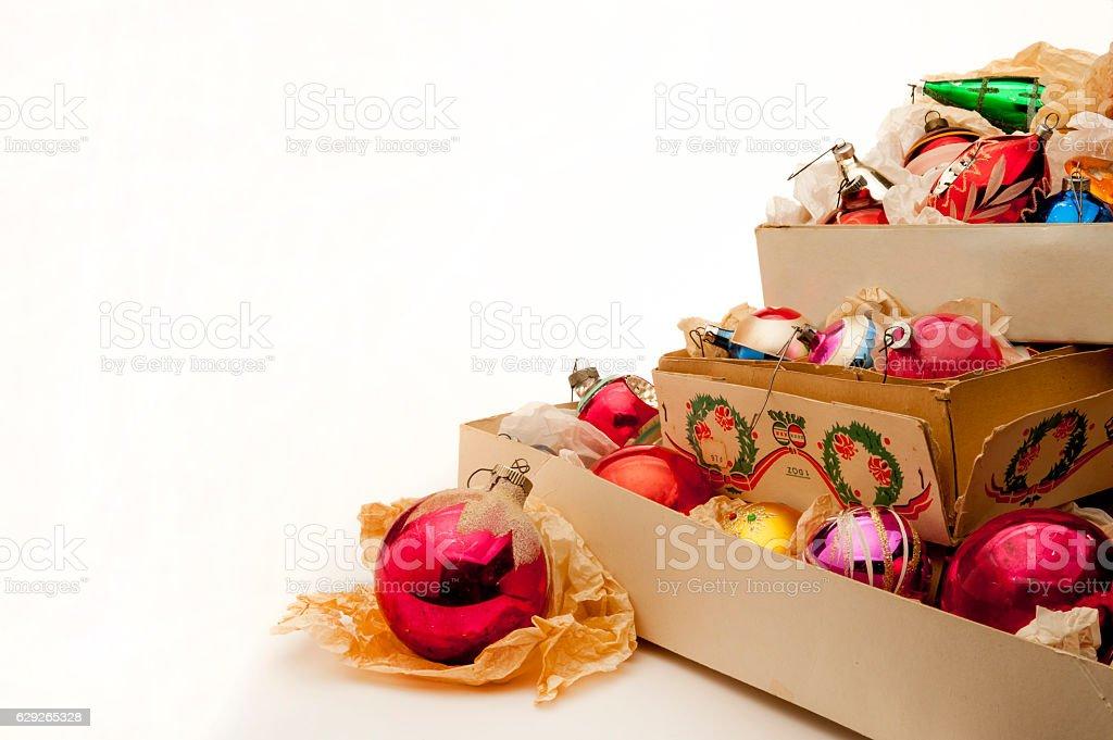 Unpacking Antique Christmas Ornaments stock photo