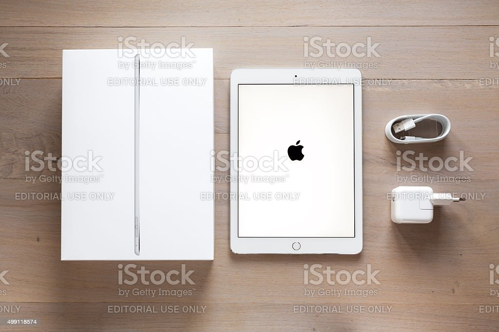 Unpacking New iPad Air 2 stock photo
