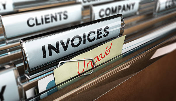 Unpaid invoices, Financial Concept stock photo
