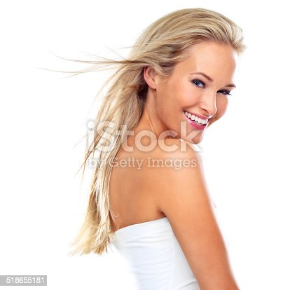 Studio shot of a beautiful young woman with perfect skin isolated on white - This is an alternative version of iStock file 47631332