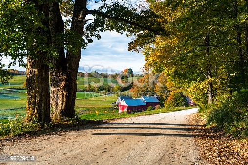 488912426istockphoto Unpaved road to a farm in an autumnal rural landscape in Vermont 1196229418