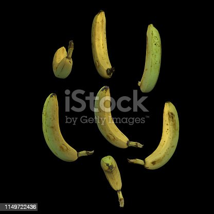 istock Unpeeled whole banana fruit black background multiple angles 3d render 1149722436