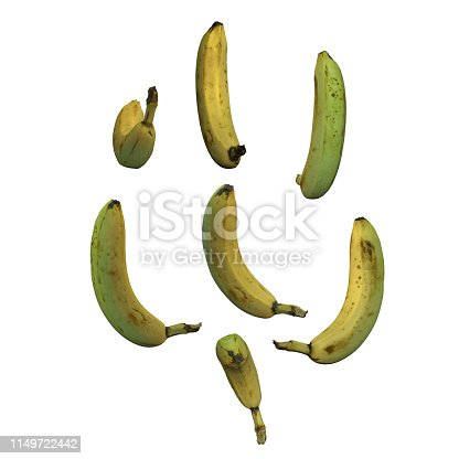 istock Unpeeled whole banana fruit white background multiple angles 3d render 1149722442