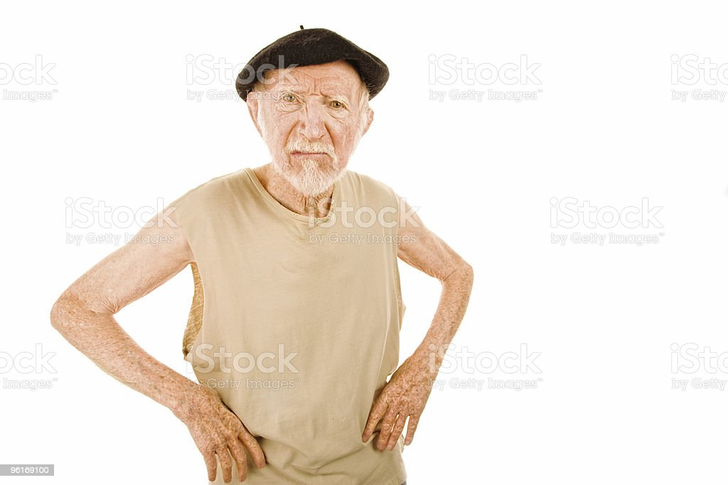 Unpleasant Senior man stock photo