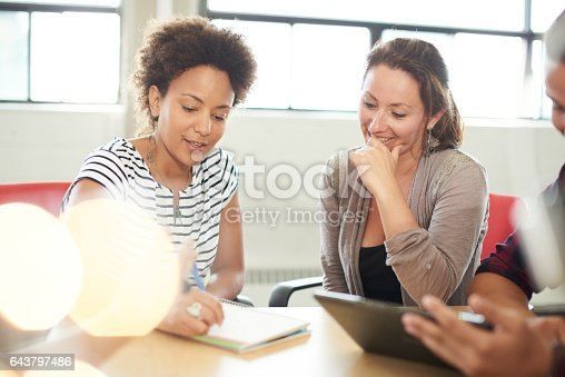 1031394390 istock photo Unposed group of creative business entrepreneurs in an open concept office brainstorming together on a digital tablet 643797486