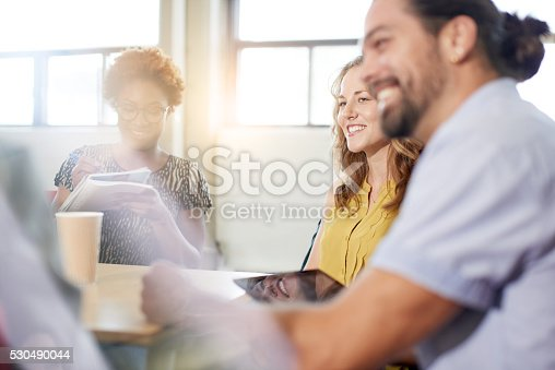 598064836 istock photo Unposed group of creative business people in an open concept 530490044