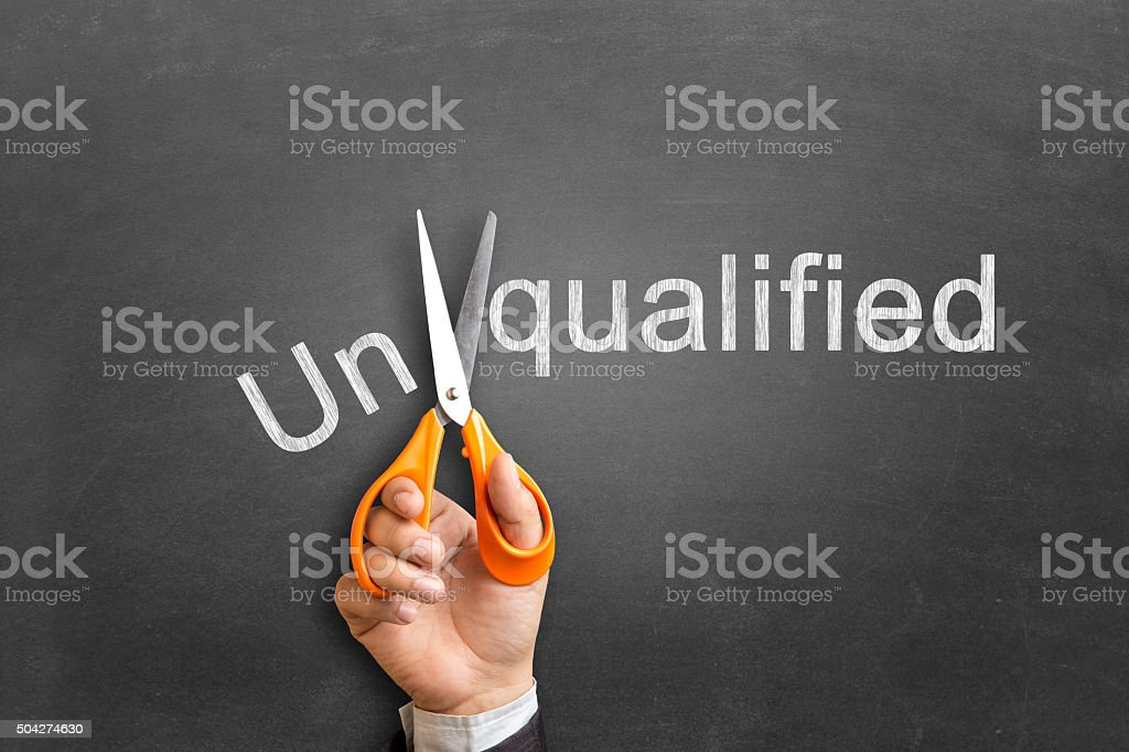 Unqualified to qualified concepts stock photo