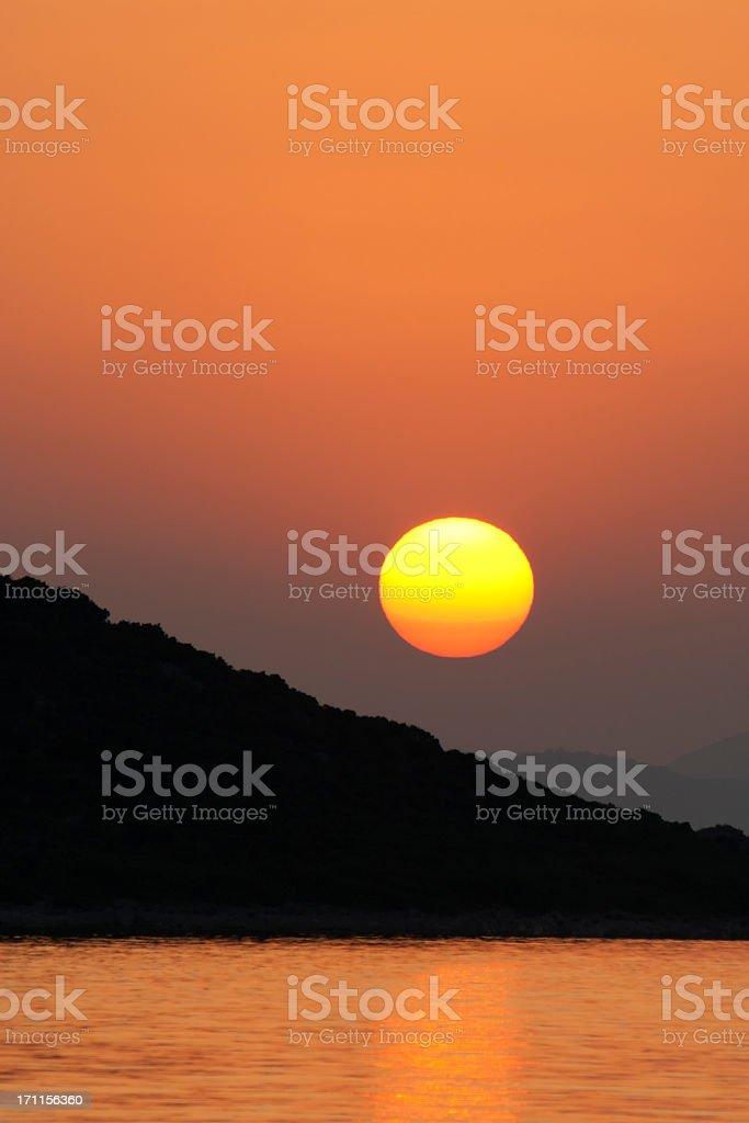 unreal yellow sun sunset royalty-free stock photo