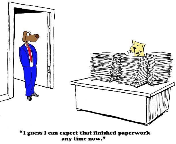 Unrealistic Expectations Business cartoon about a boss with unrealistic expectations on due date. ASAP stock pictures, royalty-free photos & images
