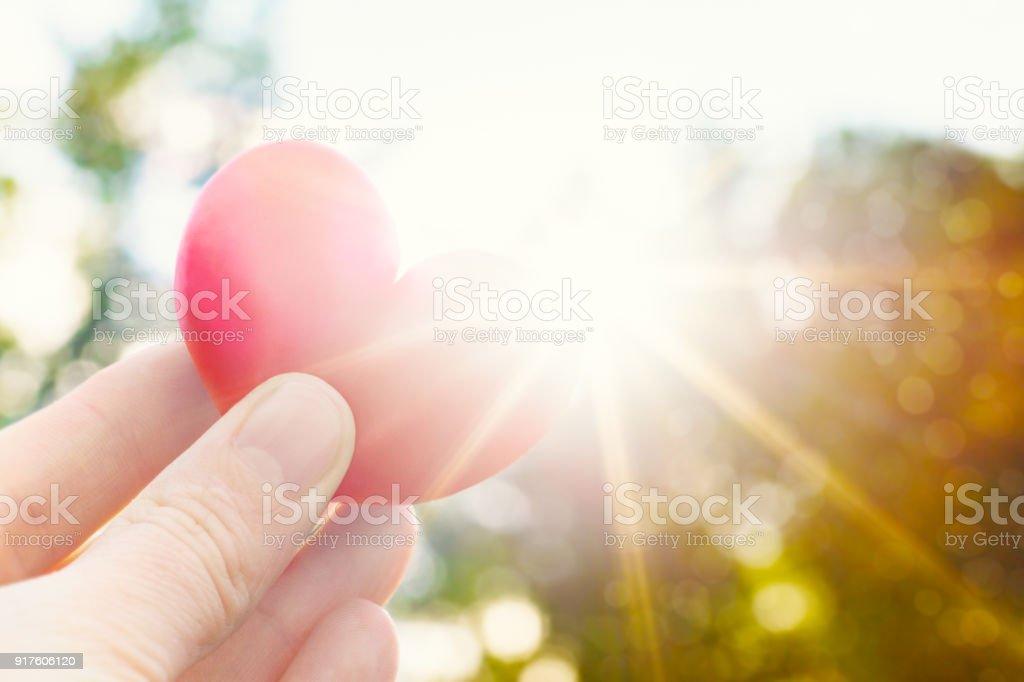 Unkenntlich Person hält Herz geformt Pflaume gegen die Sonne. Liebe Konzept Lebensstil Bild mit Sonne Flare. Valentinstag Hintergrund. – Foto