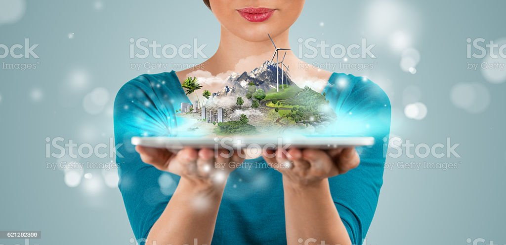 Unrecognisable woman presenting her virtual architectural projec stock photo
