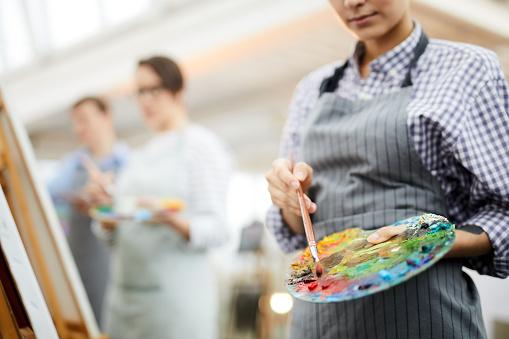 Unrecognizable Artist Holding Palette