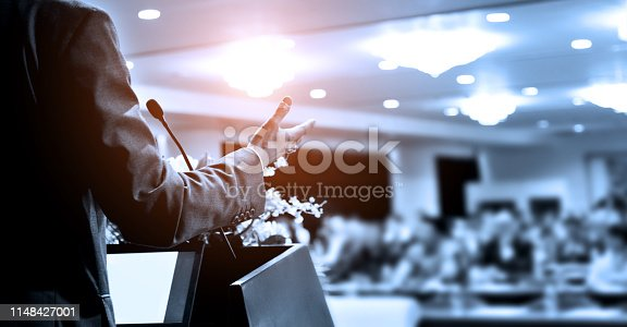 1180973515 istock photo Unrecognizable businessman making a speech in front of audience at conference hall 1148427001