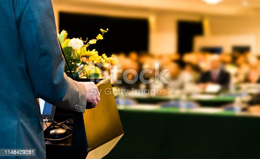 1180973515 istock photo Unrecognizable businessman making a speech in front of audience at conference hall 1148429281