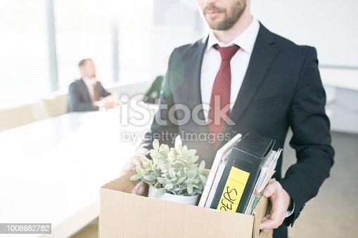 1181817161 istock photo Unrecognizable Businessman Quitting Job 1006682782