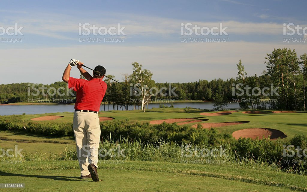 Unrecognizable Caucasian Golfer in Red Shirt stock photo