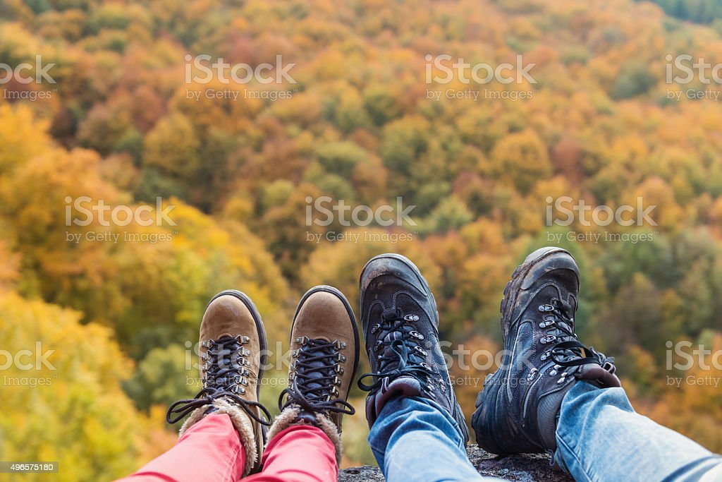 Unrecognizable couple in autumn nature stock photo