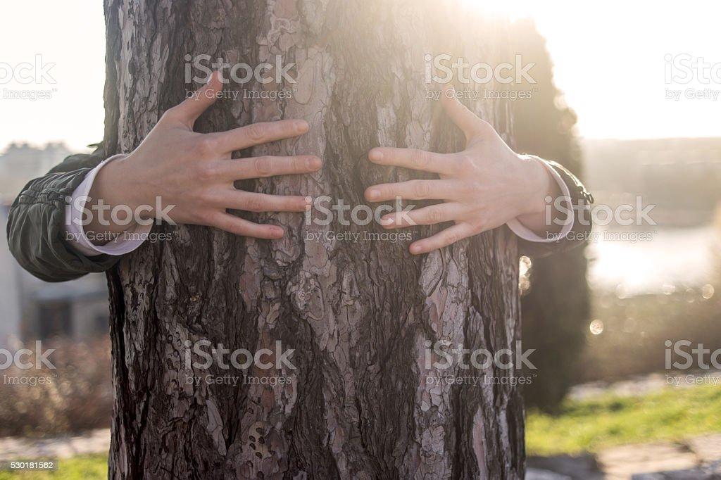 Nicht erkennbare weibliche person, die die Baumstamm im par – Foto