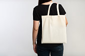istock Unrecognizable Girl Holding Eco Bag On White Background, Back View 1174442910