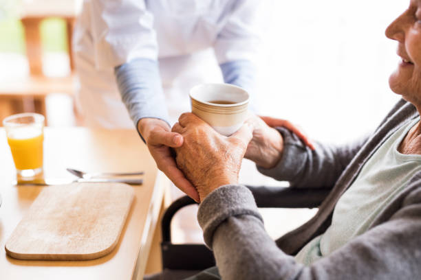 Unrecognizable health visitor and a senior woman during home visit. stock photo