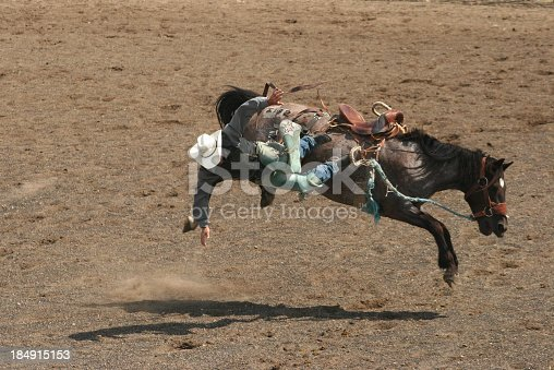 A man is thrown from his horse during a bronc riding event at a rodeo. The cowboy is nearing a hard impact on the ground but was not injured in the fall. Small town rodeos are prevalent throughout western North America. It is a great opportunity to photograph events such as steer wrestling, bull riding, barrel racing, and bronc riding. This rodeo is in Alberta, Canada.